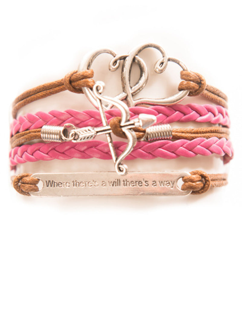 "Double Hearts, Bow and Arrow, ""Will"" Saying, Bracelet, Modestly"
