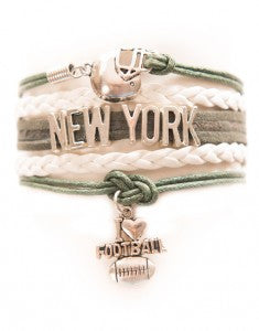 New York Football - Green & White, Bracelet, Modestly