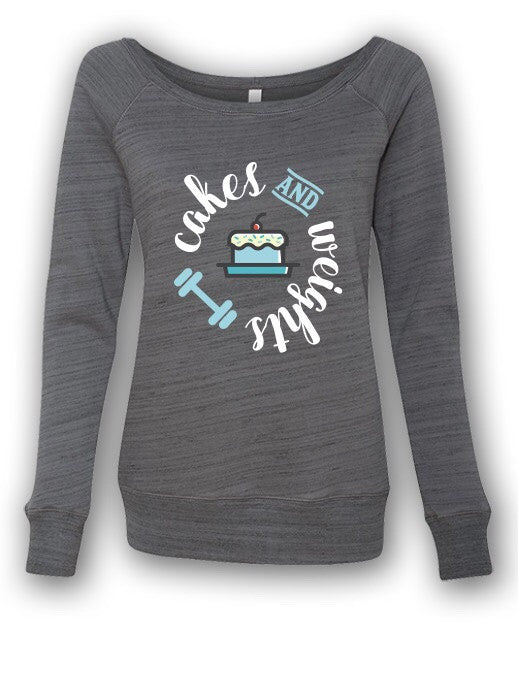 Womens Cakes & Weights Wide Neck Sweatshirt