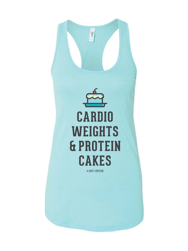 Cardio, Weights & Protein Cakes tank