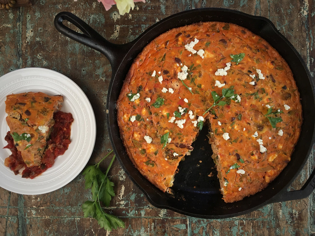 Crushed Tomato and Kalamata Olive Frittata with Fresh Herbs and Feta