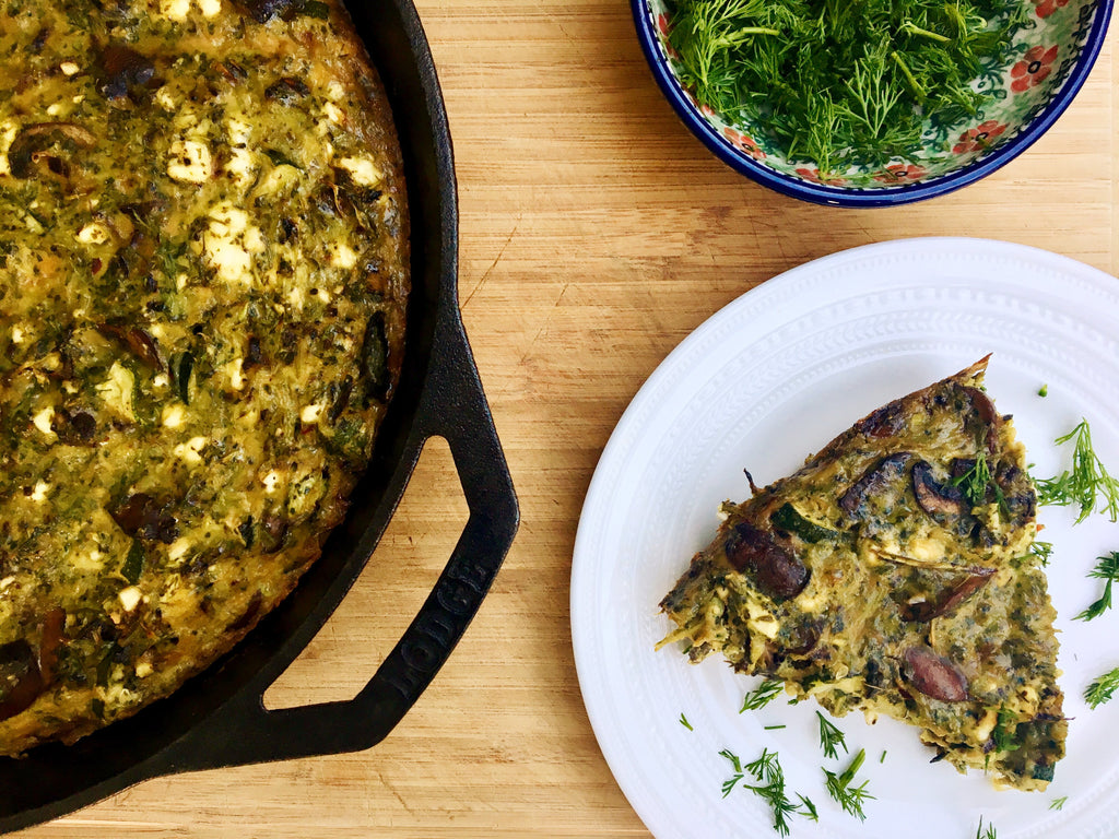 Roasted Broccoli and Caramelized Onion Frittata with Feta
