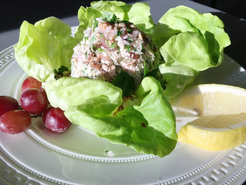 Tuna Salad Lettuce cups with Feta, Pecans, Grapes and Fresh Dill