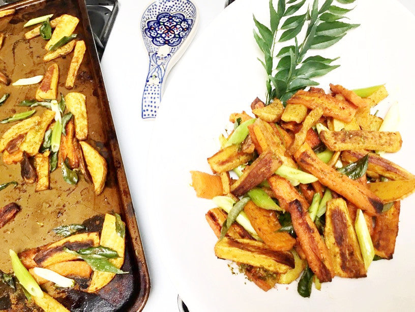 Curry-Roasted Root Vegetables with Lime Leaves