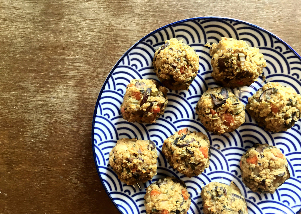 Mushroom and Goat Cheese Quinoa Risotto Balls