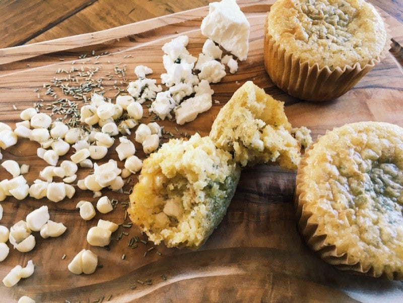 Sprouted Cornbread Muffins with Feta and Fresh Rosemary and Collards