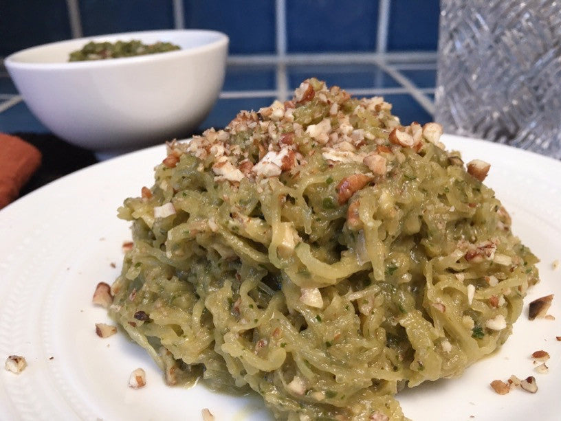 Spaghetti Squash with Pesto and Sprouted Pecans