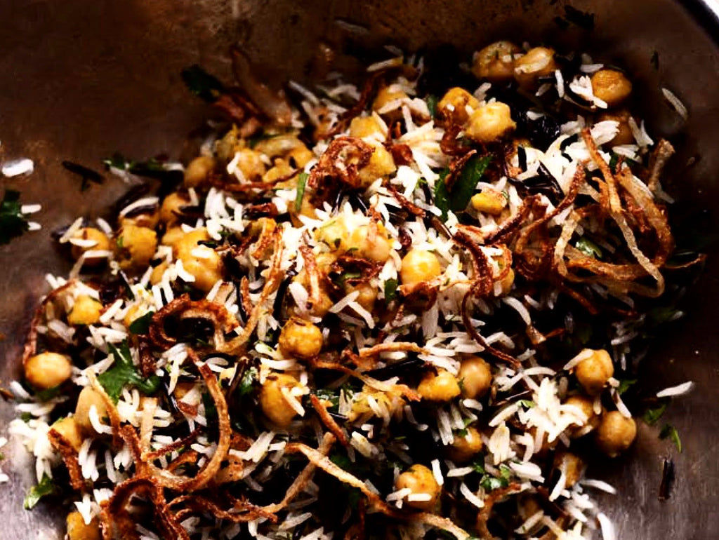 Brown Rice & Wild Rice with Sprouted Chickpeas and Caramelized Onions