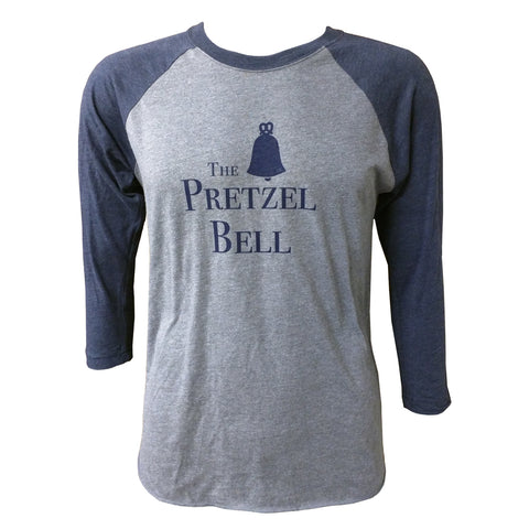 The Pretzel Bell Raglan Tee - Premium Heather/Vintage navy