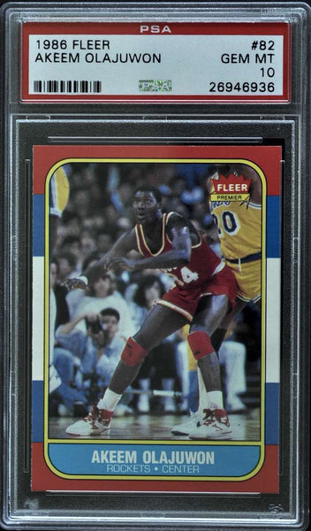 1986 Fleer Premier No. 82 of 132 Akeem Olajuwon (PSA 10 Gem Mint)