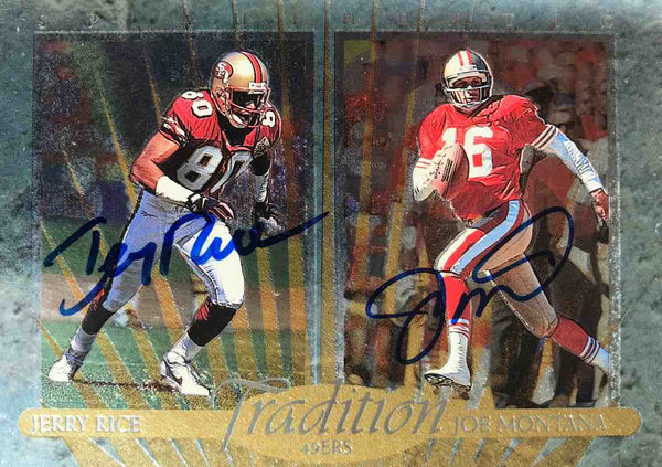 1997 Upper Deck SP Authentic Tradition Card No. TD3 Dual-Autograph Jerry Rice and Joe Montana