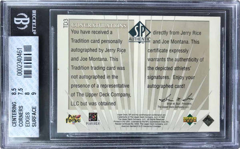 1997 Upper Deck SP Authentic Traditions Dual-Autograph Jerry Rice and Joe Montana (BGS 8 NM-MT)