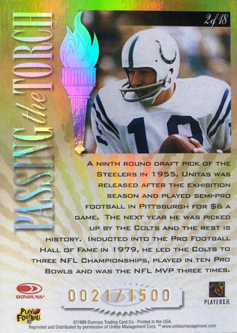 1999 Donruss Elite Passing the Torch No. 2 of 18 Autograph Johnny Unitas #21/1500