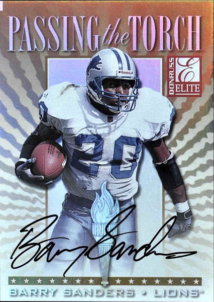 1999 Donruss Elite Passing the Torch Autograph Barry Sanders