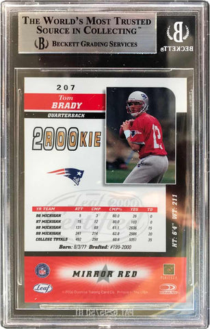 2000 Donruss Mirror Red Rookie Card No. 207 Tom Brady (BGS 9 Mint)