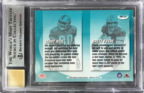 2000 Donruss Preferred Pencils Dual-Autograph Brett Favre and Jerry Rice (BGS 9 Mint)