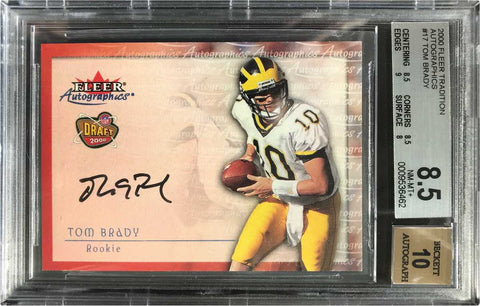 2000 Fleer Autographics #17 Rookie Draft Tom Brady (BGS 8.5 NM-MT+)
