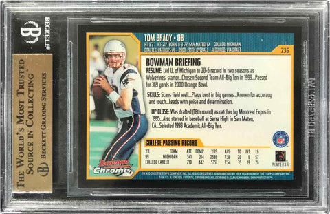 2000 Topps Bowman Chrome Rookie Card No. 236 Tom Brady (BGS 9.5 Gem Mint)