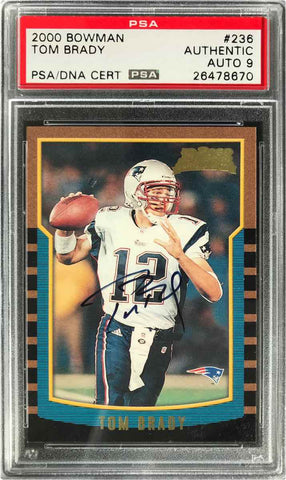 2000 Topps Bowman Chrome Rookie Card No. 236 Autograph Tom Brady (PSA Mint 9)