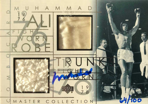 2000 Upper Deck Master Collection No. ALI-RT Fight-Worn Robe and Trunks Autograph Muhammad Ali #64/100