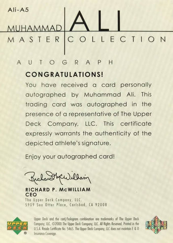 2000 Upper Deck Master Collection Autograph Muhammad Ali #3/50