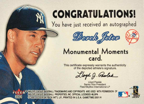 2001 Fleer Game Time Monumental Moments 1996 First World Series Ring Autograph Derek Jeter #7/96