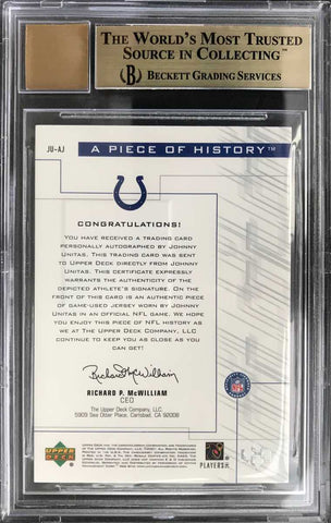 2001 Upper Deck Pros & Prospects A Piece of History Game-Used Jersey Autograph Johnny Unitas (BGS 9.5 Gem Mint)
