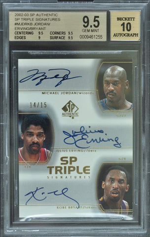 2002-03 Upper Deck SP Authentic Triple Signatures Michael Jordan, Julius Erving, and Kobe Bryant #14/15 (BGS 9.5 GEM MINT)