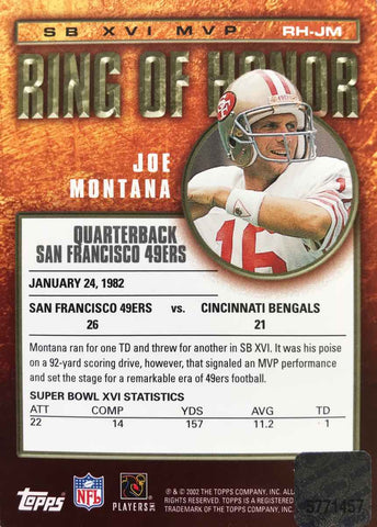 2002 TOPPS Super Bowl XVI MVP Ring of Honor Autograph Joe Montana