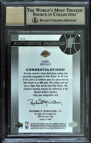 2003-04 Upper Deck SP Game-Used Authentic Fabrics Autograph Kobe Bryant #97/100 (BGS 9.5 Gem Mint)