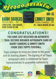 2003 Topps Record Breakers Football Card No. RBD-SS Dual-Autograph Barry Sanders and Emmitt Smith