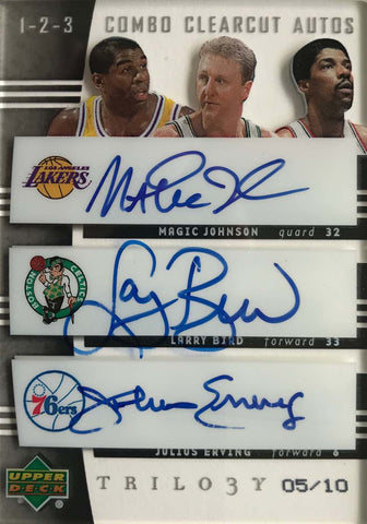 2004-05 Upper Deck Trilogy Combo Clearcut Autograph Magic Johnson, Larry Bird, and Julius Erving #5/10