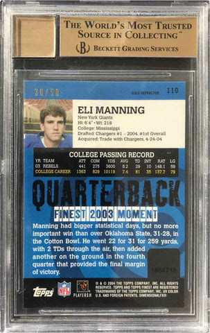 2004 Topps Finest Rookie Card No. 110 Gold Refractor Autograph Eli Manning #30/50 (BGS 9.5 Gem Mint)