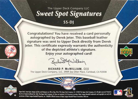 2004 Upper Deck Sweet Spot Signatures No. SS-DJ Autograph Baseball Leather Derek Jeter #23/35