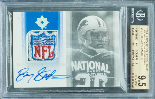 2004 Upper Deck Ultimate Logo Signature Collection No. ULS-BS Game-Used Patch Autograph Barry Sanders #1/1 (BGS 9.5 Gem Mint)