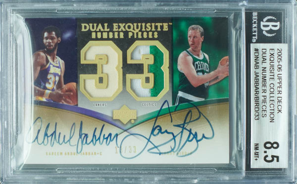 2005-06 Upper Deck Exquisite Collection No. DN-AB Game-Used Dual-Number Pieces Autograph Kareem Abdul-Jabbar and Larry Bird #13/33 (BGS 8.5 NM-MT+)