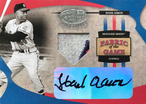 2005 Donruss Playoff Leaf 2005 Certified Materials Fabric of the Game No. FG-53 Autograph Hank Aaron #1/1