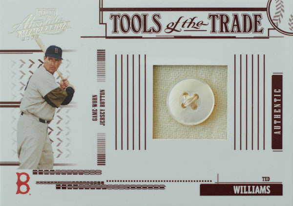 2005 Playoff Absolute Memorabilia Tools of the Trade No. TT-185 Game-Worn Jersey Button Ted Williams #2/4