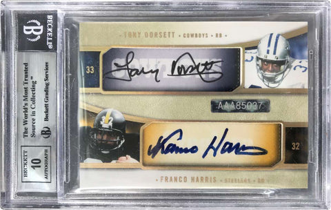 2005 Upper Deck Exquisite Collection Quad-Signatures Barry Sanders, Gale Sayers, Tony Dorsett, and Franco Harris #7/10 (BGS 8.5 NM-MT+)