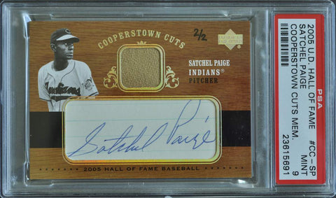 2005 Upper Deck Hall of Fame Cooperstown Cuts Autograph Pants Satchel Paige #2/2 (PSA MINT 9)