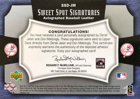 2005 Upper Deck Sweet Spot Signatures No. SSD-JM Dual-Autograph Baseball Leather Derek Jeter and Don Mattingly #10/25