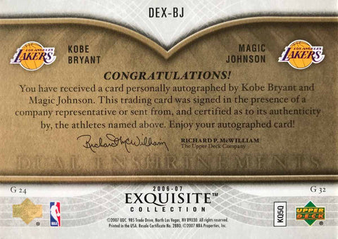 2006-07 Upper Deck Exquisite Collection No. DEX-BJ Dual-Enshrinements Kobe Bryant and Magic Johnson #8/10