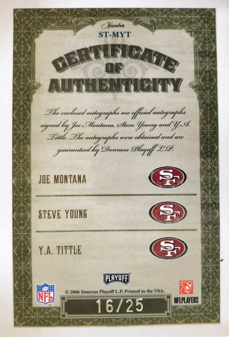 2006 Donruss Playoff National Treasures 3 Signature Joe Montana, Steve Young, and Y.A. Tittle #16/25