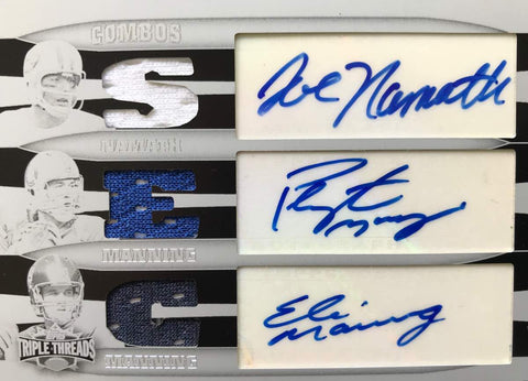 2006 TOPPS White Whale Printing Plate Triple Jerseys Autograph Eli Manning, Peyton Manning, and Joe Namath #1/1
