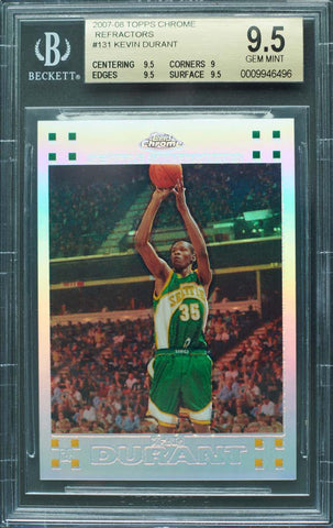 2007-08 Topps Chrome Refractors Rookie Card No. 131 Autograph Kevin Durant #246/1499 (BGS 9.5 Gem Mint)
