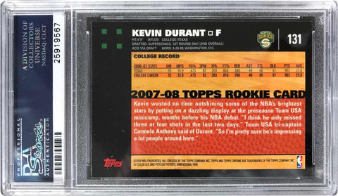 2007-08 TOPPS Chrome Rookie Card No. 131 Kevin Duran (PSA Gem Mint 10)