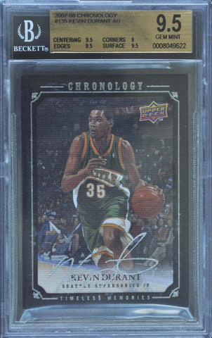 2007-08 Upper Deck Chronology Timeless Memories Card No. 135 Autograph Kevin Durant #5/99 (BGS 9.5 GEM MINT)