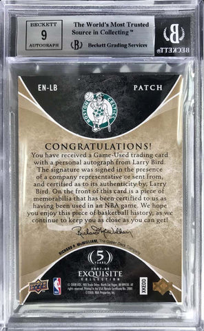 2007-08 Upper Deck Exquisite Collection Number Pieces Game-Used Patch Larry Bird #9/33 (BGS 9 Mint)