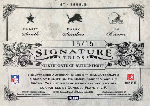 2007 Donruss Playoff National Treasures Signature Trios Emmitt Smith, Barry Sanders, and Jim Brown #15/15