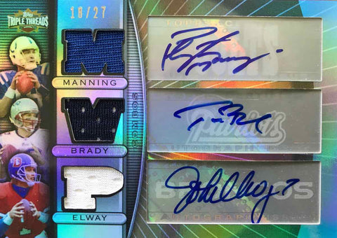 2007 TOPPS Triple Threads Football Autograph Peyton Manning, Tom Brady, and John Elway #18/27